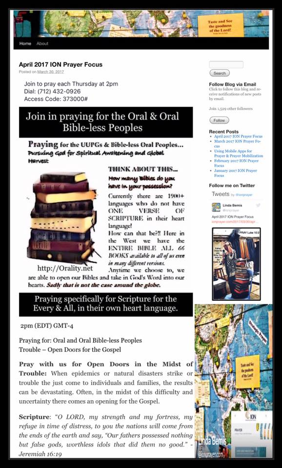 April ION Prayer Focus